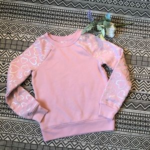 Athletic Works EUC light pink sweatshirt with silver hearts on sleeve 6/6x